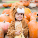 Toddler Boy in Lion Halloween Costume in a Pumpkin Patch